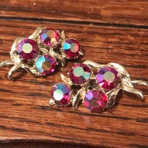 Stunning raspberry AB clip on earrings